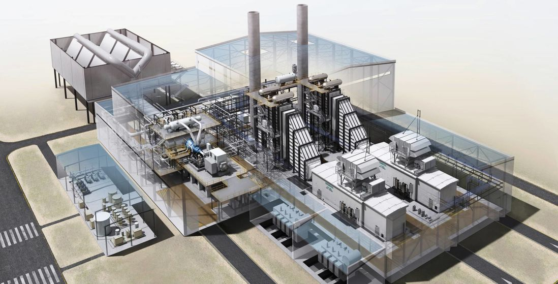 Model showing the new, highly efficient combined cycle gas and steam turbine plant that Evonik is to build in a resembling form at the Marl Chemical Park.